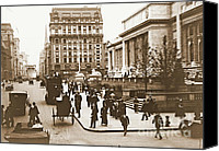 Horse And Buggies Canvas Prints - Fifth Avenue and New York City Public Library 1908 Canvas Print by Padre Art