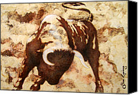 Canvas Mixed Media Canvas Prints - Fight Bull Canvas Print by Juan Jose Espinoza