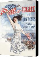 Flag Canvas Prints - Fight or Buy Bonds Canvas Print by War Is Hell Store