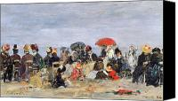 Sat Canvas Prints - Figures on a Beach Canvas Print by Eugene Louis Boudin