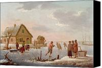 Ice Figures Canvas Prints - Figures Skating in a Winter Landscape Canvas Print by Hendrik Willem Schweickardt