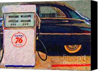Classic Gas Pumps Canvas Prints - Fill Her Up At The Old Royal 76 Gas Station Canvas Print by Wingsdomain Art and Photography