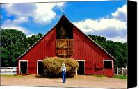 Barn Canvas Prints - Filling the Haymow Canvas Print by Lyle  Huisken