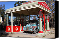 Old Trucks Canvas Prints - Filling Up The Old Ford Jalopy At The Associated Gasoline Station . Nostalgia . 7D12880 Canvas Print by Wingsdomain Art and Photography