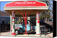 Old Trucks Canvas Prints - Filling Up The Old Ford Jalopy At The Associated Gasoline Station . Nostalgia . 7D12883 Canvas Print by Wingsdomain Art and Photography