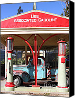 Old American Truck Canvas Prints - Filling Up The Old Ford Jalopy At The Associated Gasoline Station . Nostalgia . 7D12884 Canvas Print by Wingsdomain Art and Photography