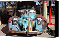 Old American Truck Canvas Prints - Filling Up The Old Ford Jalopy At The Associated Gasoline Station . Nostalgia . 7D12885 Canvas Print by Wingsdomain Art and Photography