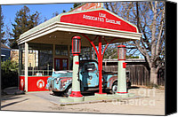 Old American Truck Canvas Prints - Filling Up The Old Ford Jalopy At The Associated Gasoline Station . Nostalgia . 7D12897 Canvas Print by Wingsdomain Art and Photography