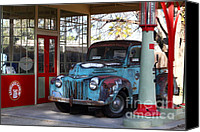 Old Trucks Photo Canvas Prints - Filling Up The Old Ford Jalopy At The Associated Gasoline Station . Nostalgia . 7D13021 Canvas Print by Wingsdomain Art and Photography