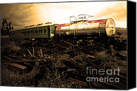 Wine Train Canvas Prints - Final Stop Express . sepia . 7D8995 Canvas Print by Wingsdomain Art and Photography