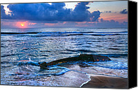 Tropical Storm Canvas Prints - Final Sunrise - Beached Boat on the Outer Banks Canvas Print by Dan Carmichael