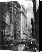 Crowd Scene Canvas Prints - FINANCIAL CENTER, c1920 Canvas Print by Granger