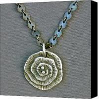 Pendant Jewelry Canvas Prints - Fine silver Op-Art pendant Canvas Print by Mirinda Kossoff