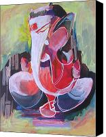 Indian God Canvas Prints - Finest strokes at Lord Ganesha Canvas Print by Chintaman Rudra