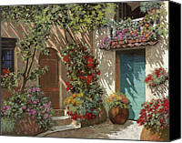 Door Canvas Prints - Fiori In Cortile Canvas Print by Guido Borelli