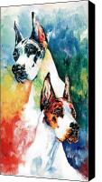 Great Dane Canvas Prints - Fire And Ice Canvas Print by Kathleen Sepulveda