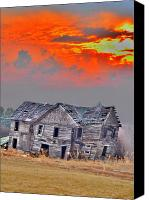 Old Houses Canvas Prints - Fire Behind the Abandoned Canvas Print by Emily Stauring
