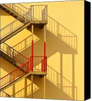 Fire Escape Photo Canvas Prints - Fire Escape and Shadow Canvas Print by David Buffington