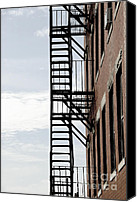 Staircase Canvas Prints - Fire escape in Boston Canvas Print by Elena Elisseeva