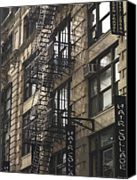 Fire Escape Photo Canvas Prints - Fire Escape On Exterior Of Building In Manhattan Canvas Print by Keith Levit Photography