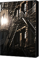 Fire Escape Photo Canvas Prints - Fire Escapes, 17th Street, New York City Canvas Print by David Clapp