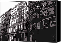 Nyc Fire Escapes Canvas Prints - Fire Escapes BW3 Canvas Print by Scott Kelley
