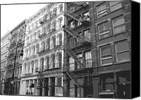 Nyc Fire Escapes Canvas Prints - Fire Escapes BW6 Canvas Print by Scott Kelley