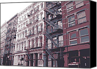 Nyc Fire Escapes Canvas Prints - Fire Escapes Color 6 Canvas Print by Scott Kelley