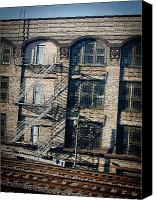 Fire Escape Photo Canvas Prints - Fire Escapes in Downtown Chicago Canvas Print by Laurie With