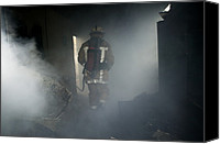 Crime Fighter Canvas Prints - Fire Fighter In A Burnt House Canvas Print by Michael Donne