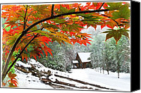 Winter Landscapes Canvas Prints - Fire Fog and Snowy Fence Canvas Print by Debra and Dave Vanderlaan