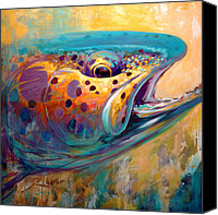 Freshwater Canvas Prints - Fire From Water - Rainbow Trout Contemporary Art Canvas Print by Mike Savlen