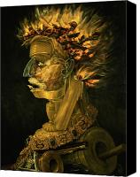 Oil Lamp Painting Canvas Prints - Fire Canvas Print by Giuseppe Arcimboldo