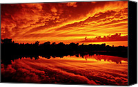 Lake Photo Special Promotions - Fire in the Sky Canvas Print by Jason Politte