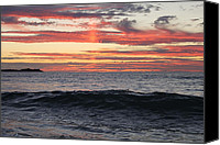 Beaches Special Promotions - Fire in the Sky Canvas Print by Kieran Brimson