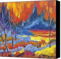Art For Sale Painting Canvas Prints - Fire Lake Canvas Print by Richard T Pranke