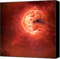 Circle Digital Art Canvas Prints - Fire Moon Canvas Print by Scott Norris