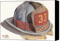 Fire Fighter Canvas Prints - Firefighter Helmet With Melted Visor Canvas Print by Ken Powers