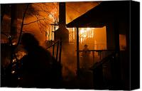 Adult Only Canvas Prints - Firefighters Spray Down A Burning House Canvas Print by Mark Thiessen