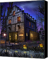 Ghost Story Mixed Media Canvas Prints - Firefly Inn Canvas Print by Joel Payne