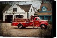 Fire Engine Canvas Prints - Fireman - Newark fire company Canvas Print by Mike Savad