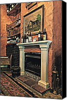 Oil Wine Canvas Prints - Fireplace Canvas Print by Benjamin Matthijs