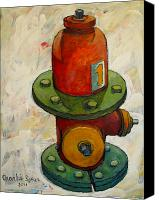 Contrasts Posters Canvas Prints - Fireplug Iii Canvas Print by Charlie Spear