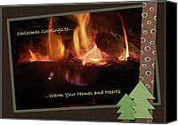 Digiart Canvas Prints - Fireside Christmas Greeting Canvas Print by DigiArt Diaries by Vicky Browning