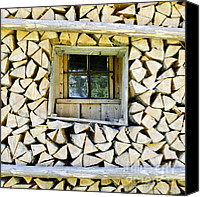 Log Cabin Art Canvas Prints - Firewood Canvas Print by Frank Tschakert