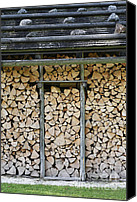 Sheds Canvas Prints - Firewood stack Canvas Print by Frank Tschakert