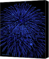 Fireworks Digital Art Canvas Prints - Firework Blues Canvas Print by DigiArt Diaries by Vicky Browning