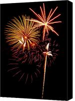 4th July Canvas Prints - Fireworks 1 Canvas Print by Michael Peychich