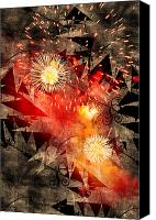 Susan Leggett Digital Art Canvas Prints - Fireworks Background Canvas Print by Susan Leggett