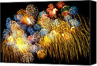 Works Canvas Prints - Fireworks Exploding  Canvas Print by Garry Gay